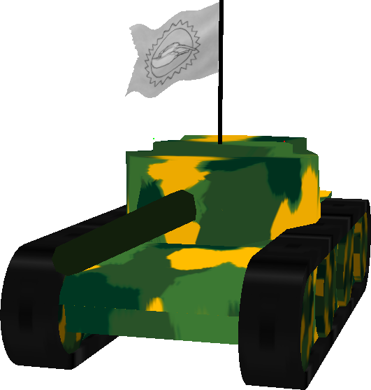 Green tank carrying a super flag